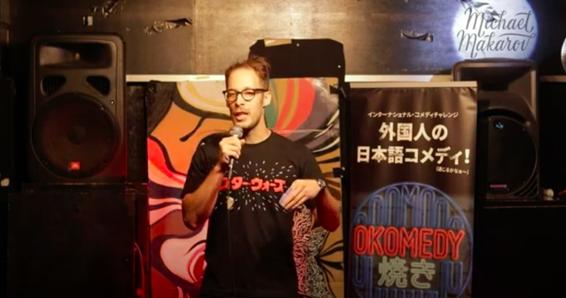 Michael Makarov is performing stand-up comedy in Japanese, Tokyo, Japan